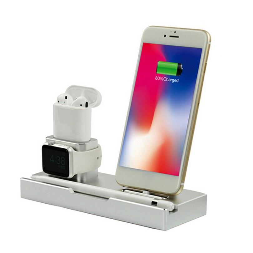 6In 1 chargeur de téléphone station de support Dock alliage d'aluminium Premium pour iPhone/AirPods/montre Apple/stylo/Ipad/charge sans fil A20