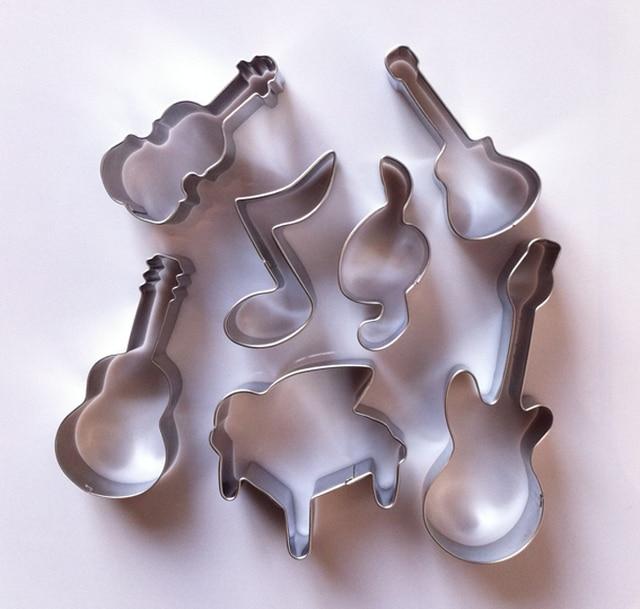 Stainless Steel Guitarviolinmusic Symbols Shape Cake Moldsmusic