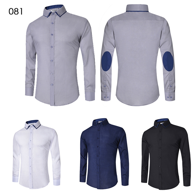 2018 Men's Casual Shirt Slim Fit Men's Casual Button Down Shirt Long Sleeve Formal Dress Shirts Men Male Clothing Camisa