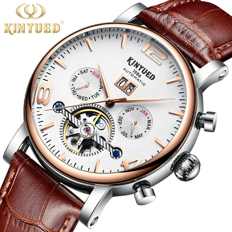 Kinyued 2018 New Business Mechanical Watches Men Leather Band Waterproof Automatic Hand Watch Skeleton Tourbillon Wristwatch цена