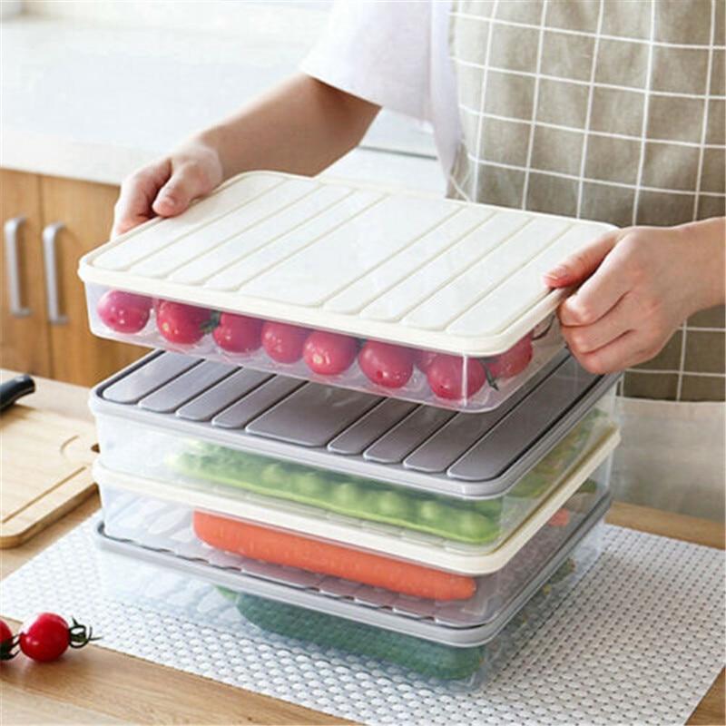 Kitchen Storage Box Plastic Fridge Food Egg Storage Box With Lid Drawer Container Organizer Holder Dumplings Transparent Case