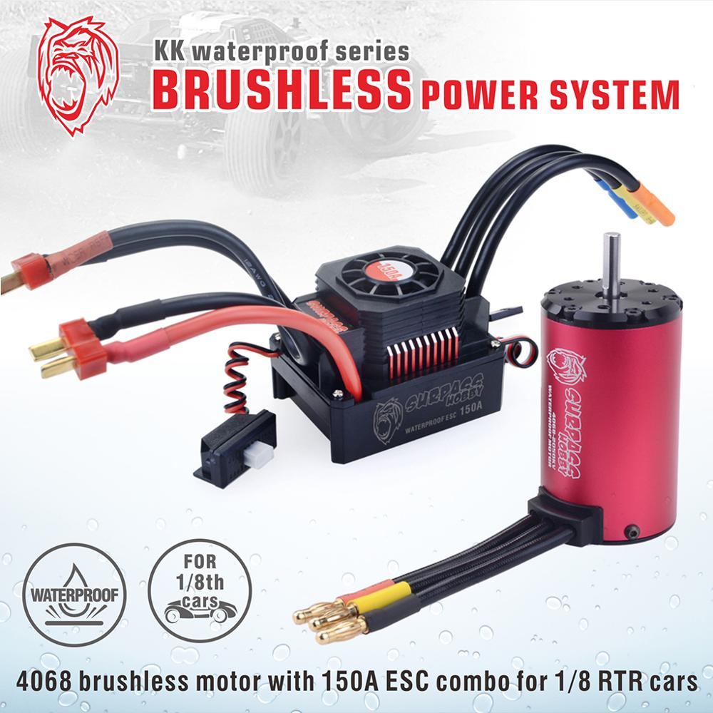 SURPASS HOBBY KK กันน้ำ Combo 4068 2050KV 2650KV Brushless Motor w/120A 150A Brushless ESC สำหรับ 1/8 RC Drift แข่งรถ-ใน ชิ้นส่วนและอุปกรณ์เสริม จาก ของเล่นและงานอดิเรก บน   3
