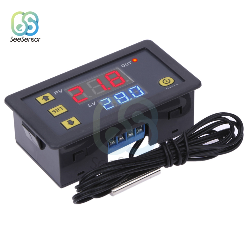 Цифровой регулятор температуры W3230, 12 В, 24 В, Φ 20A, светодиодный дисплей, термостат для контроля тепла/охлаждения, прибор с зондом