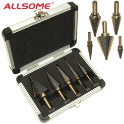 ALLSOME 5pcs/Set HSS COBALT MULTIPLE HOLE 50 Sizes STEP DRILL BIT SET With Aluminum Case Arrival High Quality HT410