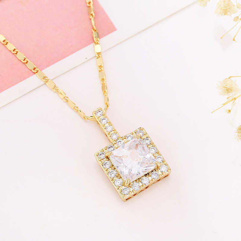 Rose Gold Pendant Necklace Beautiful Female Wedding Party Jewelry Bohemian  Plated Pendant Necklace Beautifully Set Zircon N