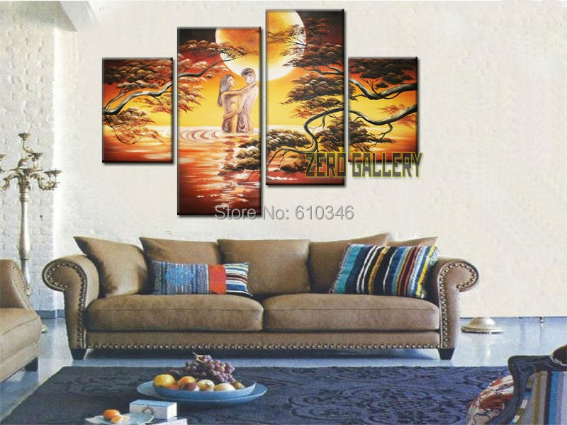 Picture Hand painted Portrait nude lady couple love Oil painting living room  home Decorative wall hanging canvas islamic 40003 in Painting Calligraphy