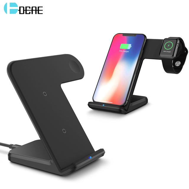 buy popular c68f0 33e4b US $8.43 40% OFF|DCAE 2 In 1 Qi Wireless Charger For iPhone XS Max XR X 8  Plus for Apple Watch 2 3 4 10W Fast Charging For Samsung S9 S8 Note 9 8-in  ...