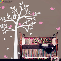 2016 NEW Huge White Tree And Cute Birds Decals Baby Nursery Bedroom Wall Art Decor Fashion Home Decorative Design Sticker Mural