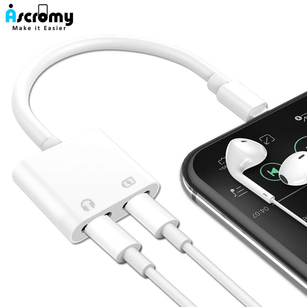 the best attitude 57f6b 3c1e4 Ascromy Dual Splitter Adapter For iPhone 7 8 Plus X XS Max XR 2 In 1  Headphone Jack Audio Charge Cable Adaptor Phone Accessories