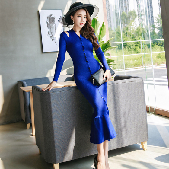 Womens Clothing Winter Style Long-Sleeved V-Neck Sweater Fishtail Skirt Knitted Blue Suit
