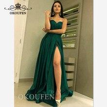 15df4bef21d4c9 Green Satin Lange Prom Dresses 2019 Side Split Sweetheart Hals EEN Lijn  Avondjurk Party Voor Vrouwen Lace Up terug