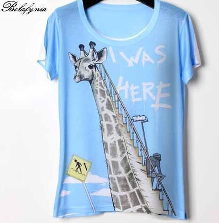 Mulheres T Shirt do verão t-shirt cor de impressão 3D personalizado Magro Girafa 267 senhora Camisa de manga curta T
