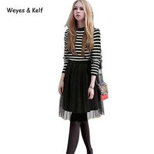 Weyes & Kelf Casual Spring Long Sleeves Striped Tulle Dresses  2018 Autumn O-neck Knitted Dresses Womens Ruffles Dress For Women