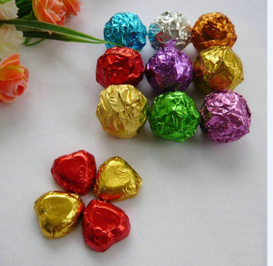 8*8cm 8000Pcs/Lot 3.14x3.14 Multi Colored Foil Wrapper For Chocolates Sweetmeats Packaging Silver Paper Colorful Tin Foil
