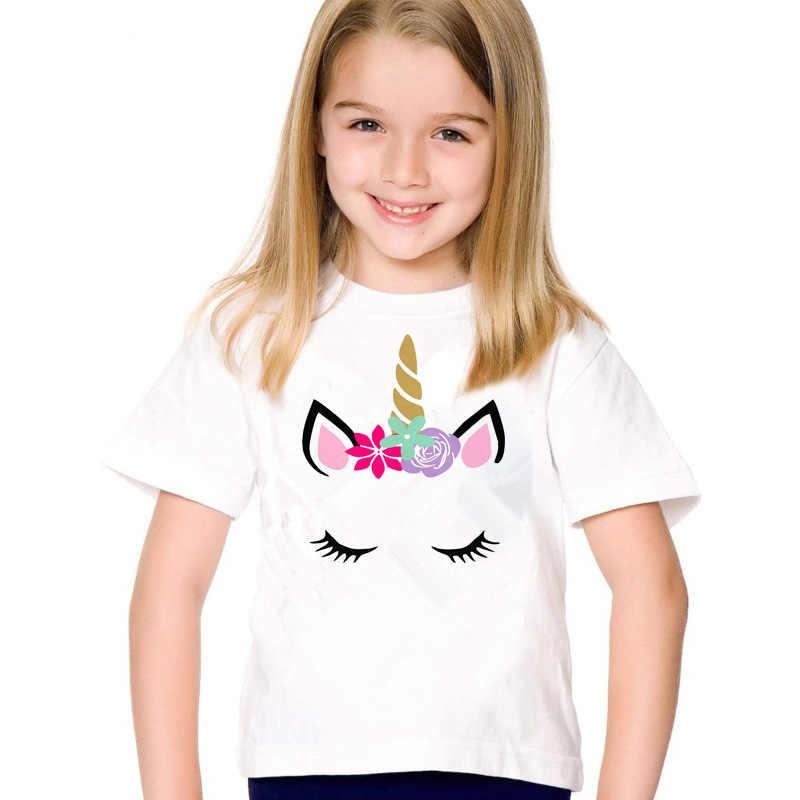 Unicorn Tees Cotton Mùa Hè Ngắn T-Shirt cho Cô Gái Đảng Quần Áo Bé Trai Phim Hoạt Hình Kỳ Lân Áo Sơ Mi Trắng cho Sinh Nhật Quần Áo