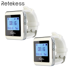 2pcs 433MHz Watch Receiver Waiter Calling System Wireless Pager Restaurant Equipment 999 Channel F3288B