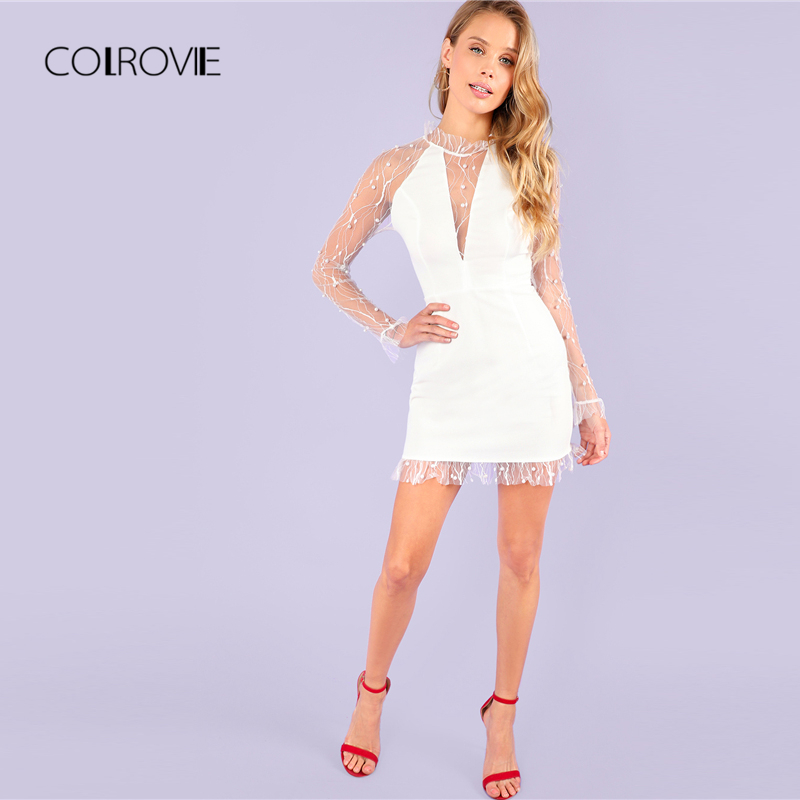 COLROVIE Sexy Pearl Beading Vine Mesh Panel Ruffle White Dress Women 2018  New Autumn Solid Party Dress Slim Female Dresses -in Dresses from Women s  Clothing ... ecd1c4769110