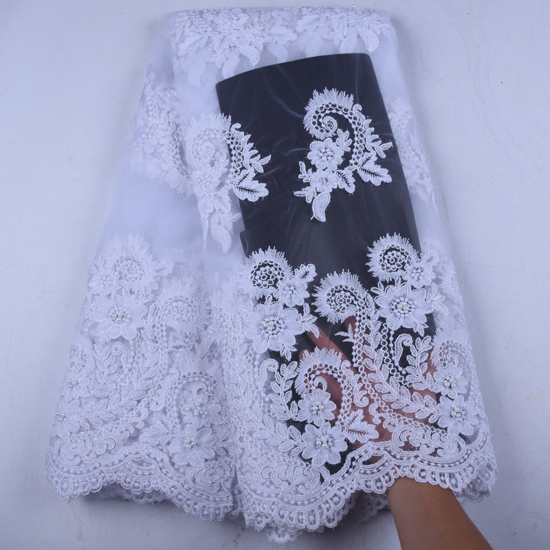 Pure White African Lace Fabrics High Quality Stones French Lace Fabrics Nigerian Tulle Lace Fabrics For