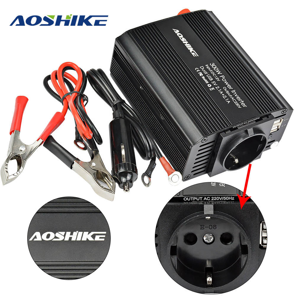 AOSHIKE Dual USB 4.2A inverter 12v 220v 300W 500W EU Car Power Inverter 12V to 220V Auto Voltage Transformer Car Adapter-in Car Inverters from Automobiles & Motorcycles