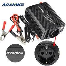 AOSHIKE 듀얼 USB 4.2A 인버터 12v 220v 300W 500W EU 자동차 전원 인버터 12V 220V 자동 전압 변압기 자동차 어댑터