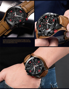 Image 3 - MEGIR Men Watch Top Brand Luxury Gold Chronograph Wristwatch Date Military Sport Leather Band Male Clock Relogio Masculino 2099