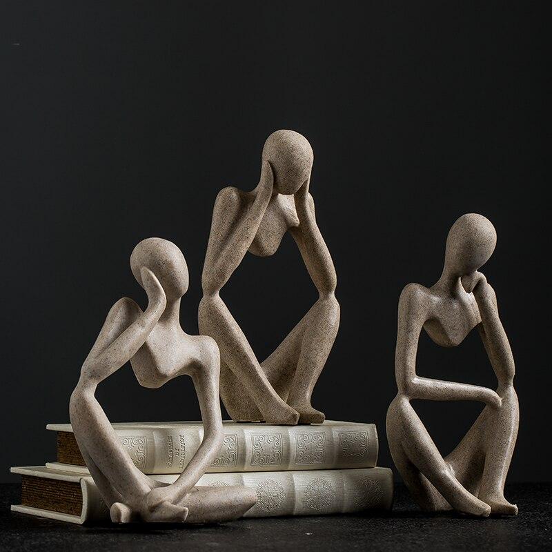 Nordic Modern Thinker Resin Abstract Statue Creative Resin Model Figures Crafts Mini Sculpture Desktop Living Room Home Decor