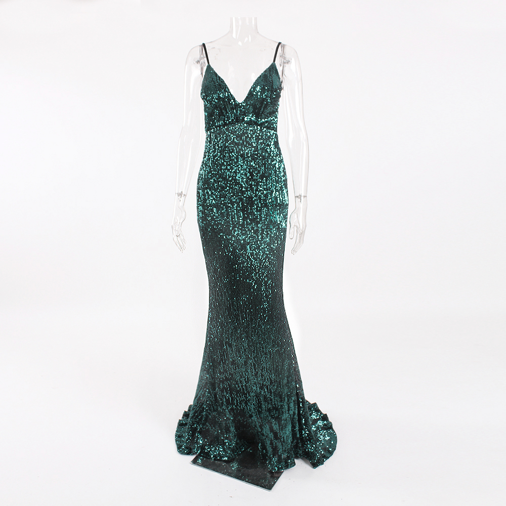 Sexy Stretch Silver Sequin Maxi Dress Hollow Out Floor Length Summer Party Dress Padded V Neck Backless Mermaid Dress 11