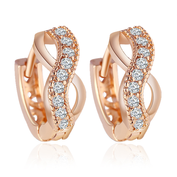 17KM New Design gold Color Austrian crystal earrings jewelry Fashion