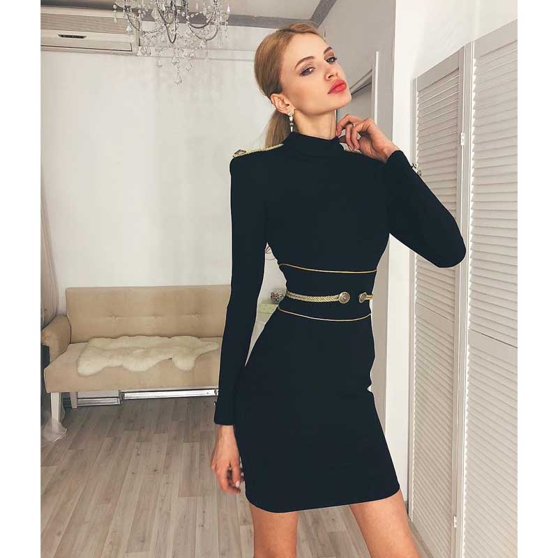 Wholesale new dress Black red green Long sleeve Stretch knitting Fashion casual Celebrity boutique party bandage