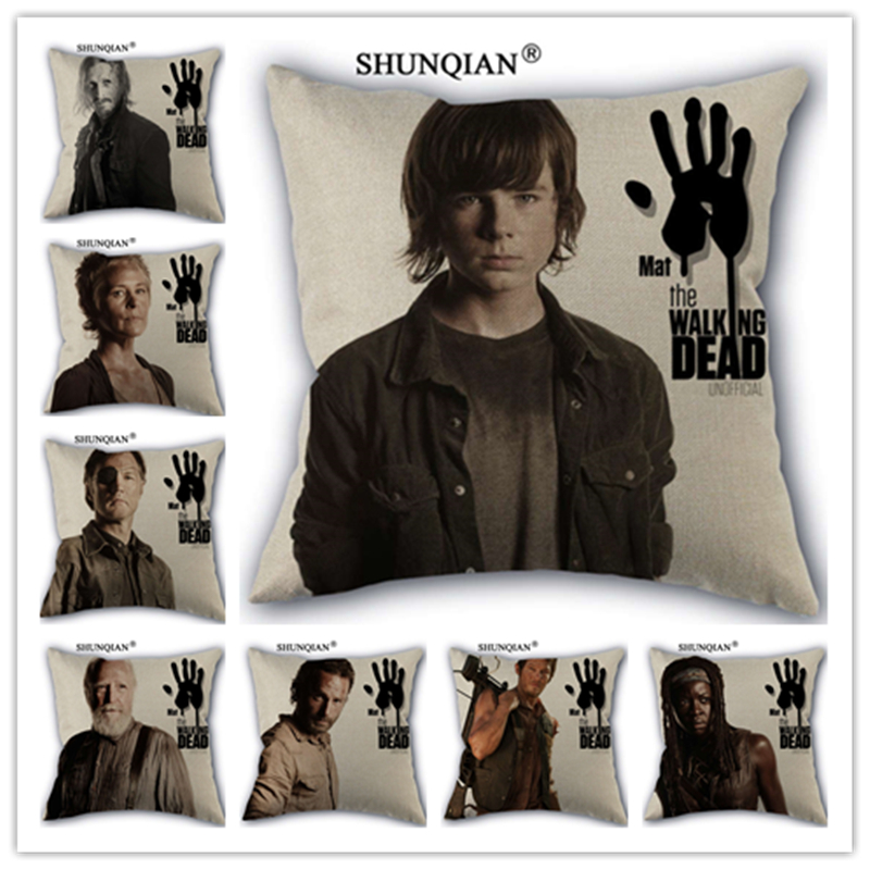 Linen Cotton The walking dead Pillow Cover Custom Print Home Decorative Pillows Cases 45x45cm one side WJY424-10