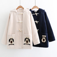 Autumn 2017 Hoodies College Wind Wooden Buckle Embroidered Owl Pocket Wild Long Sleeve Female Coat Thick Woolen Coat