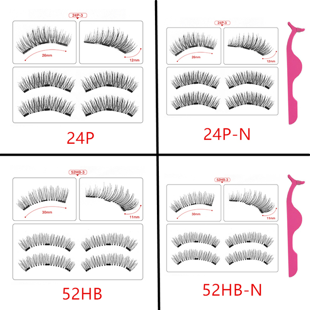 Magnetic eyelashes with 3 magnets handmade 3D/6D magnetic lashes natural false eyelashes magnet lashes with gift box-24P-3 1