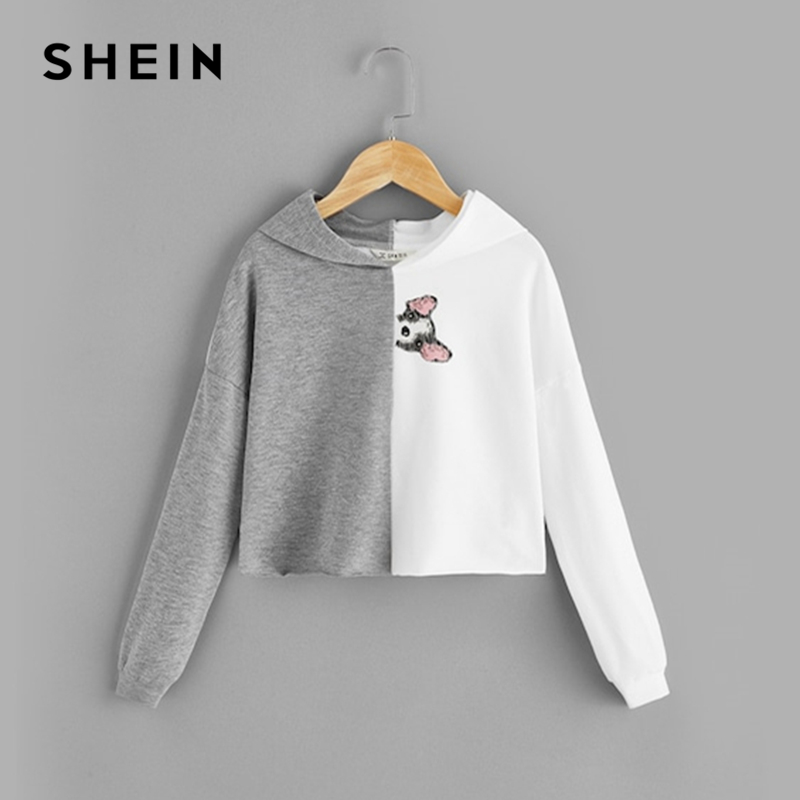 SHEIN Kiddie Animal Print Lettuce Trim Two Tone Hooded Girls Sweatshirts 2019 Spring Long Sleeve Pullover Kids Casual Hoodies christmas snowflake print long sleeve flocking sweatshirt