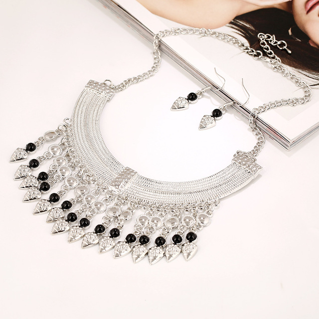 Vintage Gypsy Boho Moon Long Water Drop Beads Tassel Statement Necklaces Ethnic Maxi Necklace Turkish Jewelry Free Shipping