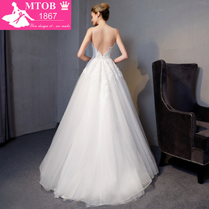 Image 2 - Yeni Varış A line Lüks Vintage düğün elbisesi Romantik Robe De Mariage Vestido De Noiva Sheer Backless gelinlik MTOB1801