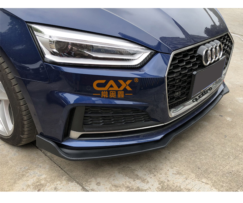 Acouto Car Front Bumper Canard Lip Splitter Body Shovels DIY Decoration Refit for A5 S-Line B9 17-18 Carbon Fiber