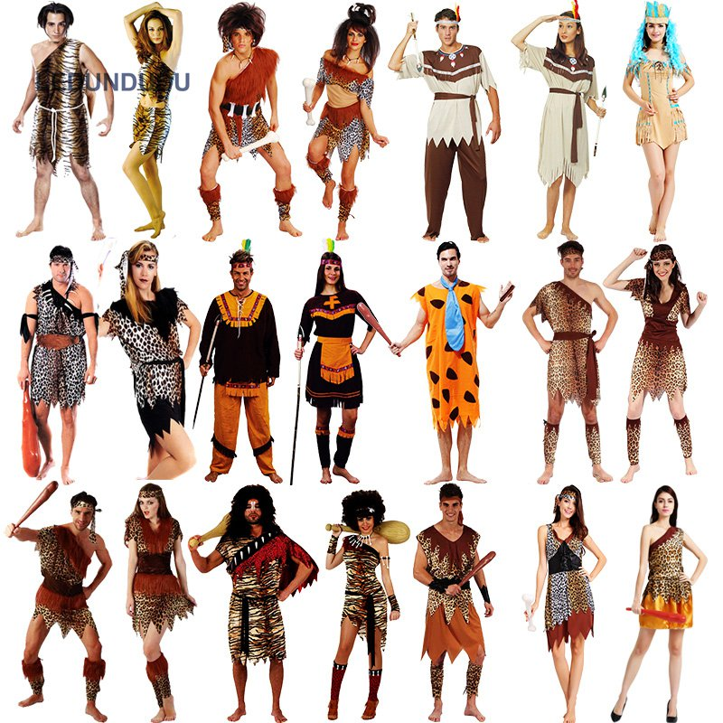 <font><b>Halloween</b></font> Adult <font><b>Sexy</b></font> Primitive Tribe Savage Leopard Print Cosplay <font><b>Costumes</b></font> Aboriginal Wildman Dress <font><b>Men</b></font> Jumpsuits image