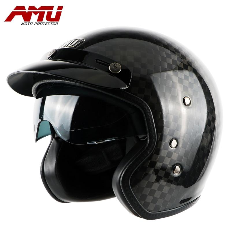 AMU casco mezzo caschi In fibra di Carbonio casco retro Moto moto vintage jet scooter casco casque capacete motorhelm moto