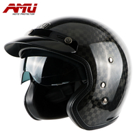 AMU half helmet Carbon fiber helmets retro helmet Motorcycle moto vintage casque jet scooter helmet motorhelm capacete moto