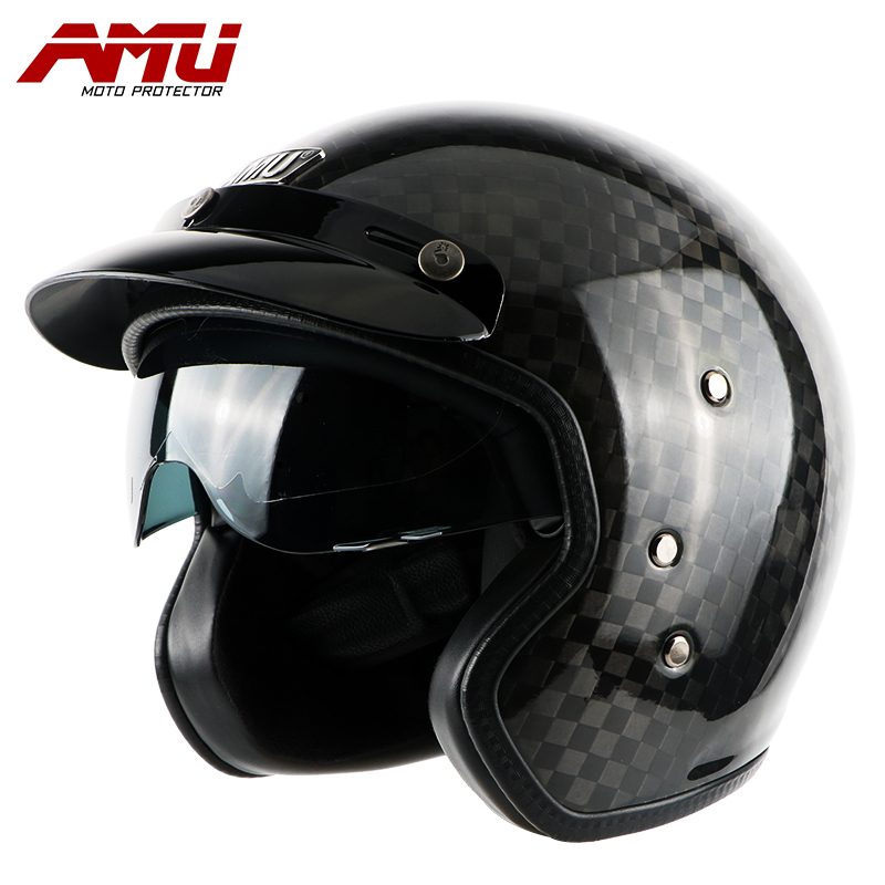 amu half helmet carbon fiber helmets retro helmet motorcycle moto vintage casque jet scooter. Black Bedroom Furniture Sets. Home Design Ideas
