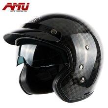 AMU metade capacete De fibra de Carbono capacetes retro jet scooter casque capacete capacete Da Motocicleta moto vintage motorhelm capacete moto