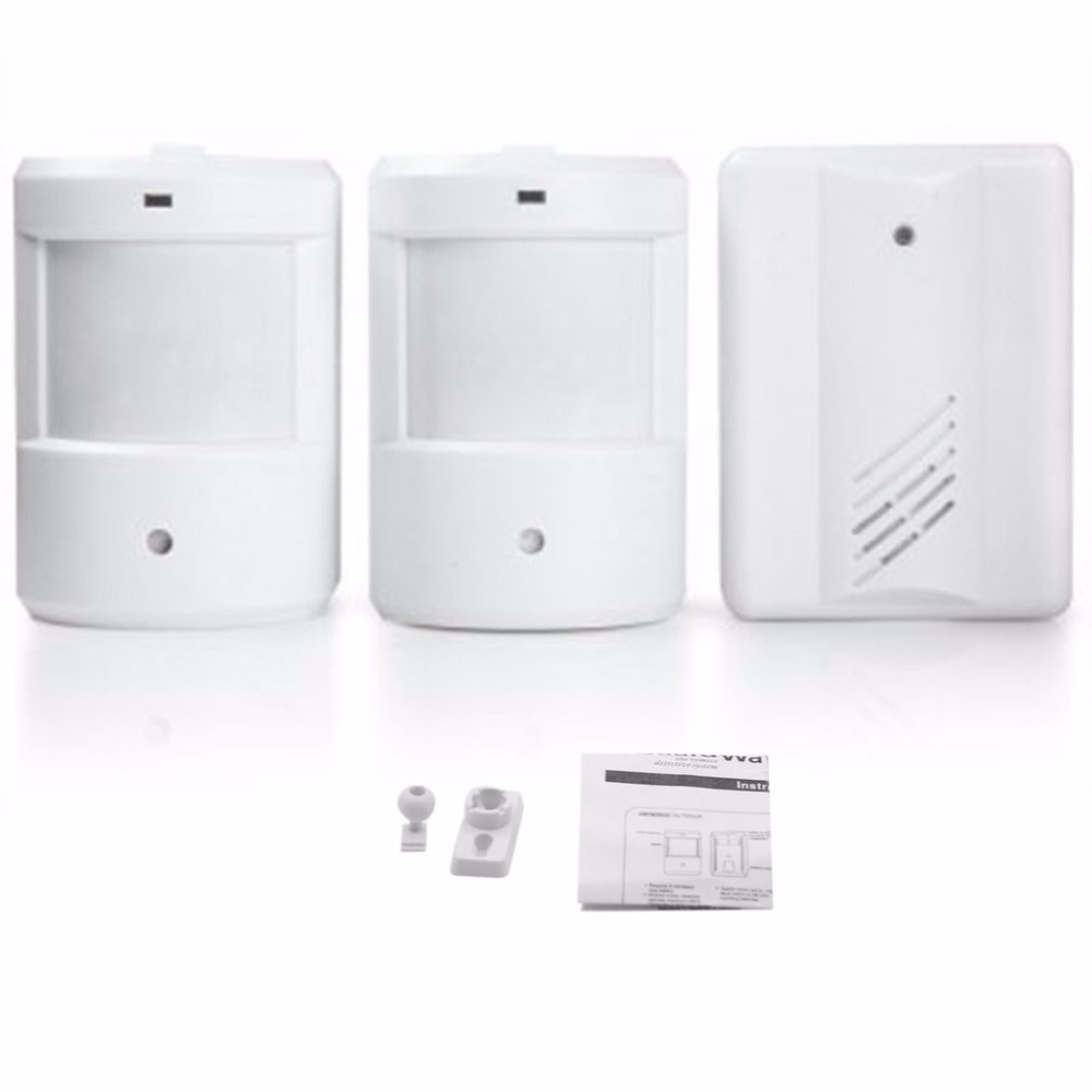 Portable Home Wireless Doorbell Set 2 Transmitter + 1 Receivers Kit Infrared Sensing Battery Powered Electronic Door Bell Kit