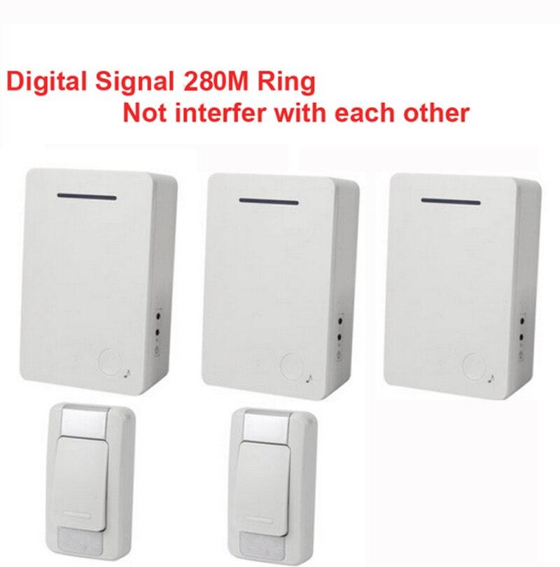 D28 2-3 Wireless Door Bell Kits W/ 2 Emitter+3 Receiver &power By AA Battery Doorbell Waterproof Chime Door Ring Digital Signal