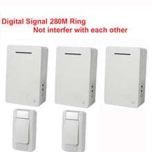 D28 2-3 wireless door bell kits w/ 2 emitter+3 receiver &power by AA battery doorbell