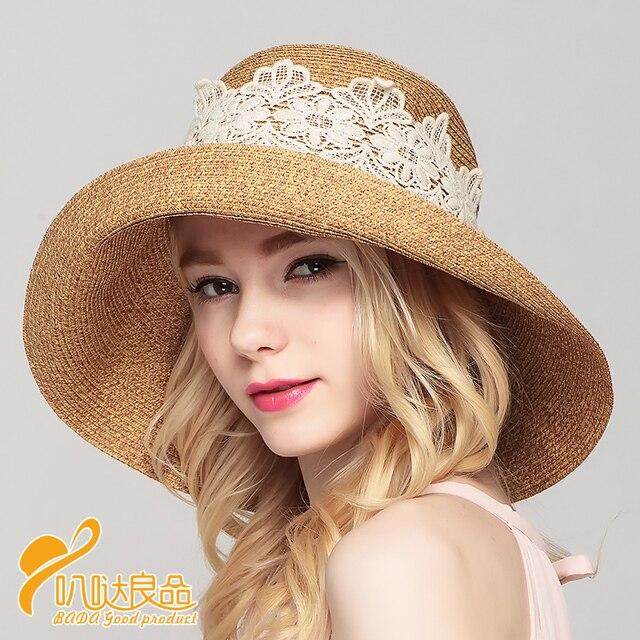 bb075b0163291 2016 New Lady Sun Hat Summer Straw Hat Women Folded Wide Brim Sun Cap  Elegant Travelling