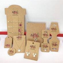 50 piezas de papel Vintage flor joyería tarjeta, joyas colgantes cajas de joyería para collar/pendiente/horquilla/Embalaje de accesorios