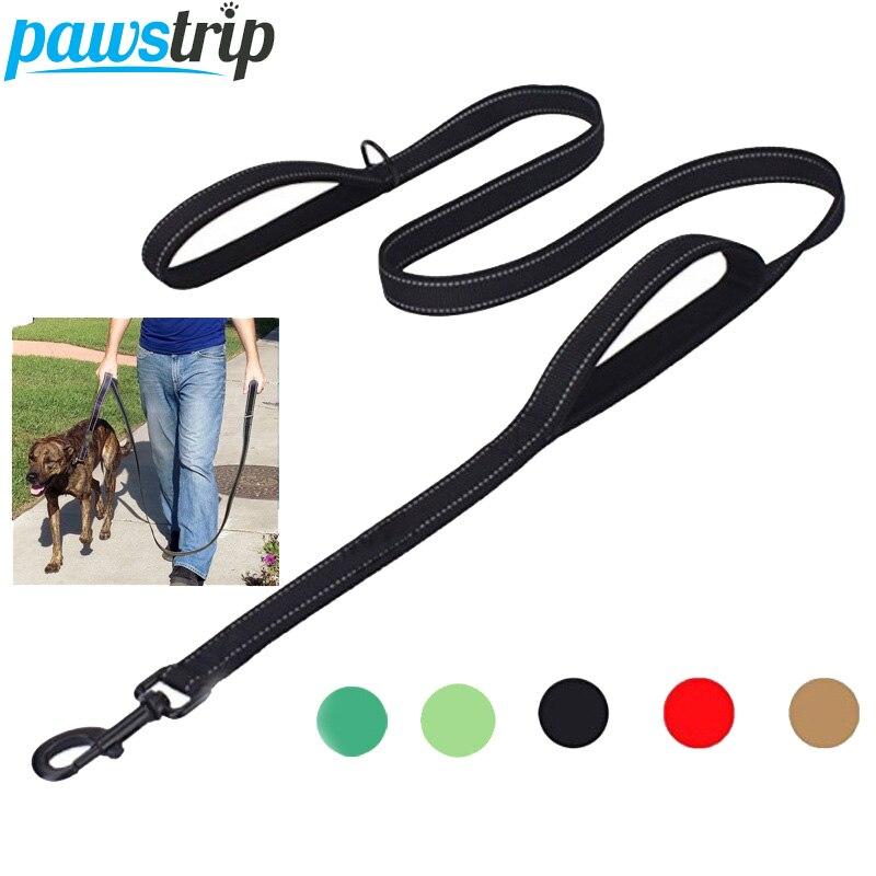 pawstrip Double Handle Traffic Dog Leash Running Jogging Safety Walk Reflective Nylon Dog Leash Pet Lead For Medium Large Dogs ...