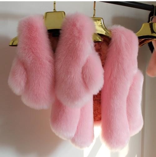 Baby Fur Vest New Girl Rabbit Fur Clothes Imitation Fox Fur Coat Kids Warm Vest Waistcoat Children Winter Jacke Faux Fur Coat etosell women faux fox fur shaggy waistcoat long hair lapel vest coat camel l