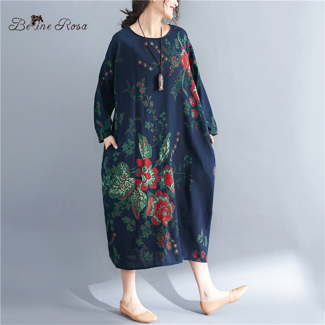 Women's Plus Size Dresses Spring Style Vintage Floral Printing Cotton Linen Big Size Female Dress 2