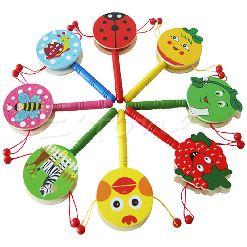 Baby & Toddler Toys Toys & Hobbies Ingenious Wooden Rattle Pellet Drum Cartoon Musical Instrument Toy For Child Kids Gift Nov 03